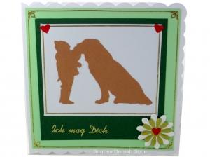 Glückwunschkarte, Liebe, Freundschaft, Kind und Hund, Geburtstagsgrüße,  ca. 15 x 15 cm - Handarbeit kaufen