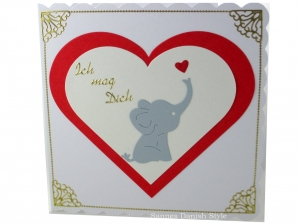 Grußkarte Baby Elefant, Liebeskarte, Freundschaftskarte, Geburtstagsgrüße,  ca. 15 x 15 cm - Handarbeit kaufen