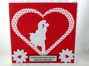 Grußkarte, Ich liebe dich, Herz und Paar, rot,  ca. 15 x 15 cm