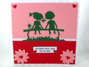 Grußkarte, Ich liebe dich, Mädchen und Junge, rot, rosa, ca. 15 x 15 cm