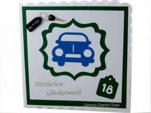 Grußkarte Führerschein, Zum bestandenen Führerschein, 18, Auto, Geburtstagsgrüße,  ca. 15 x 15 cm - Handarbeit kaufen