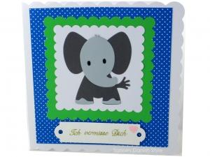 Grußkarte mit Elefant, ich vermisse Dich, Liebe, Freundschaft, kleine Elefant,  ca. 15 x 15 cm - Handarbeit kaufen