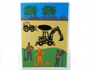XL Grußkarte Bauarbeiter, Geburtstagskarte, Straßenbau, Straßenbauer, Bauarbeiter, Baggerfahrer, DIN A5 Format - Handarbeit kaufen