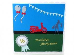 Grußkarte 16. Geburtstag, Geburtstagskarte auch für bestandene Führerschein Moped, Karte für Mädchen,  ca. 15 x 15 cm