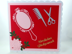 Grußkarte Friseur, Verpackung für Friseurgutschein, Kamm und Schere, Geburtstagskarte für Friseure, ca. 15 x 15 cm