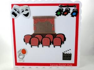 Geburtstagskarte Theater, Verpackung Theaterkarten, Bühne, Stühle, Spotlight, Masken, Karte ist ca. 15 x 15 cm