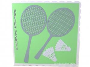 Badmintonkarte, Grußkarte Federball, Geburtstagskarte Badminton, Karte Federball, Grußkarte mit Badmintonschläger, die Karte ist ca. 15 x 15 cm - Handarbeit kaufen