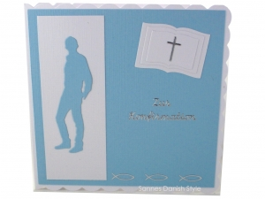 Konfirmationskarte, Glückwunschkarte zur Konfirmation, Konfirmationskarte für Jungen, die Karte ist ca. 15 x 15 cm - Handarbeit kaufen