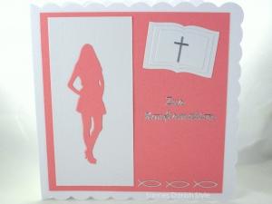 Grußkarte Konfirmation, Konfirmationskarte für Mädchen, schöne Karte in rosa und weiß, die Karte ist ca. 15 x 15 cm