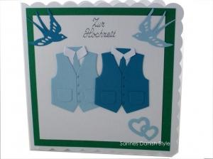 Glückwunschkarte zur Hochzeit, Männer Hochzeitskarte, Grußkarte mit Westen, ca 15 x 15 cm - Handarbeit kaufen