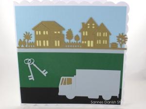 Grußkarte Umzug, Einzug, Umzugskarte, Glückwünsche zum neuen Heim, die Karte ist ca. 15 x 15 cm