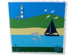 Geburtstagskarte Urlaub, Grußkarte für Männer und Frauen, Urlaubskarte, Geldgeschenkverpackung mit Delfine, Leuchtturm, Segelboat, die Karte ist ca. 15 x 15 cm - Handarbeit kaufen