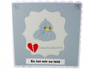 Es tut mir leid Grußkarte, mit traurige Vogel, Tränen, Herz, Entschuldigungskarte, Klappkarte, ca. 15 x 15 cm - Handarbeit kaufen