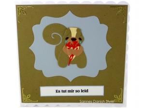 Grußkarte mit Eichhörnchen, Entschuldigungskarte Eichhörnchen, Tränen, Blumen, Tut mir leid Grußkarte, ca. 15 x 15 cm - Handarbeit kaufen