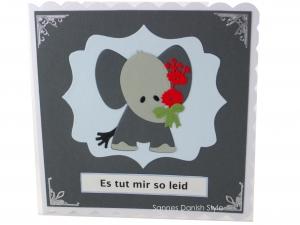 Grußkarte mit Elefanten, für Entschuldigungen, kleine traurige Elefant, Tut mir leid Grußkarte, mit Blumen, die Karte ist ca. 15 x 15 cm - Handarbeit kaufen
