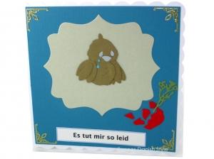 Grußkarte mit Vogel, Entschuldigungskarte, Vogel und Vase, Tränen, Es tut mir leid Karte, ca. 15 x 15 cm - Handarbeit kaufen