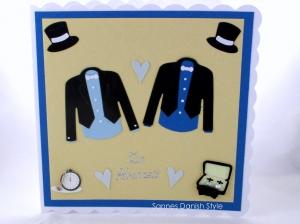 Glückwunschkarte Hochzeit für Männer, Männerhochzeit Grußkarte. Schöne Hochzeitskarte für zwei Männer in beige und blautöne verschenken, ca 15 x 15 cm