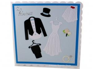 Hochzeitskarte, Grußkarte zur Hochzeit, schöne Glückwunschkarte mit Brautkleid und Bräutigam Anzug. Die Karte ist ca. 15 x 15 cm - Handarbeit kaufen