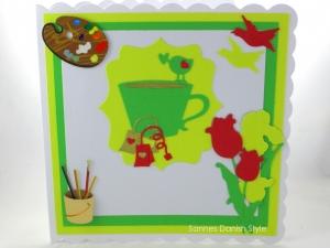 RESERVIERT, Get Well Karte mit Teetasse, Blumen und Vögel, ca. 15 x 15 cm