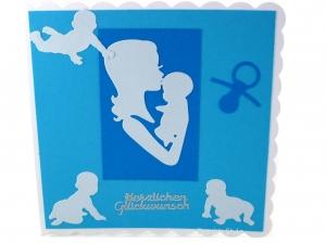 Babykarte, Glückwunschkarte Junge, Grußkarte in Blautöne, Geburtskarte mit Mutter und Baby, Die Karte ist ca. 15 x 15 cm - Handarbeit kaufen