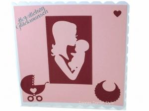 Mutter und Kind Geburtskarte, Babykarte, Glückwunschkarte, Faltkarte zur Geburt für Mädchen in rosa und weinrot. Die Karte ist ca. 15 x 15 cm - Handarbeit kaufen