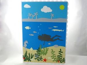 Taucherkarte, Geburtstagskarte, Grußkarte, Tauchurlaub, Faltkarte, Meer und Pflanzen, die Karte ist ca. DIN A5 Format