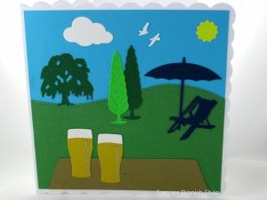 RESERVIERT, Geburtstagskarte, Hefeweizen, Liegestuhl für den Mann, die Karte ist ca. 15 x 15 cm