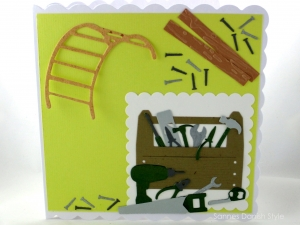 RESERVIERT, Grußkarte Heimwerker, Geburtstagskarte, Verpackung Gutschein für Hobby Bastler, Handwerker, selber Macher, ca. 15 x 15 cm