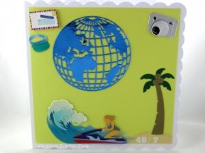 RESERVIERT, Geburtstagskarte Weltbummler, Urlauber, Welt sehen, die Karte ist ca. 15 x 15 cm