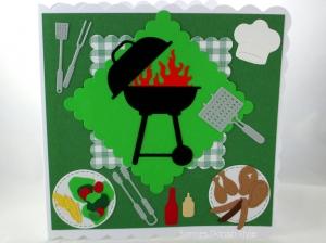 Geburtstagskarte Grill, Faltkarte Grillkurs, Verpackung für Gutscheine, Grill, Salat, Fleisch in der Natur, die Karte ist ca. 15 x 15 cm