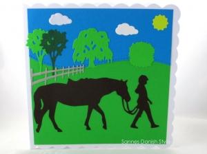 Pferdekarte,, Geburtstagskarte mit Mädchen und Pferd, Grußkarte Pferdemädchen, ca. 15 x 15 cm