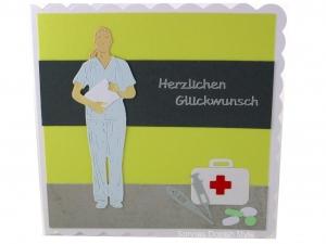 Grußkarte Arzt, Mediziner, Pflegekraft, Geburtstagskarte für Medizinbereich, die Karte ist ca. 15 x 15 cm