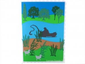 Anglerkarte, Geburtstagskarte für Angler oder für den Ruhestand, Angler auf den See, ca. DIN A5 - Handarbeit kaufen