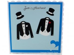Hochzeitskarte, wunderschöne Karte für das Brautpaar, Hochzeitskarte für zwei Männer in weiß, Schwarz und blautöne verschenken, ca 15 x 15 cm
