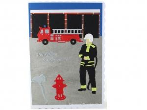 XL Grußkarte Feuerwehrmann, Geburtstagskarte, Feuerwehrwache, Feuerwehrauto, DIN A5 Format - Handarbeit kaufen