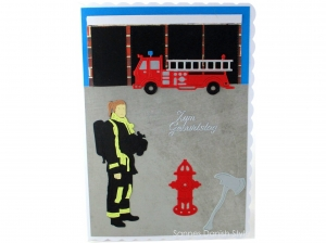 XL Grußkarte Feuerwehrfrau, Geburtstagskarte, Feuerwehrwache, Feuerwehrauto, DIN A5 Format - Handarbeit kaufen
