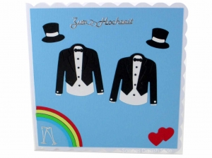 Hochzeitskarte, wunderschöne Karte für das Brautpaar, Hochzeitskarte für zwei Männer in weiß, Schwarz und blautöne verschenken, ca 15 x 15 cm  - Handarbeit kaufen