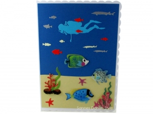 Taucherkarte, Geburtstagskarte, Grußkarte, Tauchurlaub, Faltkarte, Meer und Pflanzen, die Karte ist ca. DIN A5 Format - Handarbeit kaufen