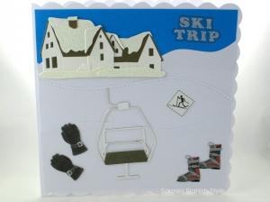 Geburtstagskarte, Glückwunschkarte für Skiurlauber, mit Skilift, Hotel und Skiläufer, die Karte ist ca. 15 x 15 cm