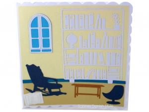 Grußkarte mit Wohnzimmer, Bücherregal, Stuhl, Fenster und Bücher, ca. 15 x 15 cm  - Handarbeit kaufen