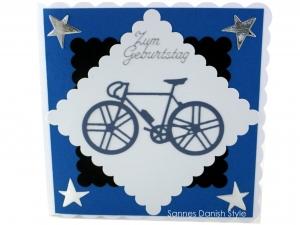 Geburtstagskarte für Radfahrer, neues Fahrrad, Sterne, ca. 15 x 15 cm - Handarbeit kaufen