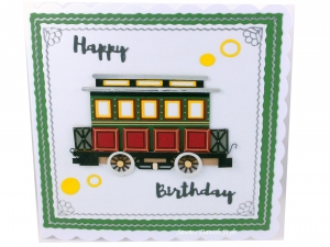 Happy Birthdaykarte Straßenbahnwagon, Geburtstagskarte, die Karte ist ca. 15 x 15 cm