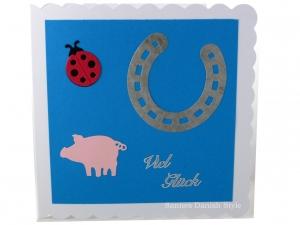 Viel Glück Grußkarte, mit Hufeisen, Marienkäfer, Schwein, ca. 15 x 15 cm - Handarbeit kaufen