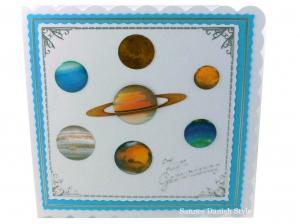 Geburtstagskarte mit Planeten, Sonnensystem, für Schule oder Beruf, ca. 15 x 15 cm - Handarbeit kaufen