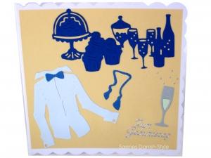 Geburtstagskarte für den Mann, Hemd, Party und Sekt, schöne Geburtstag, die Karte ist ca. 15 x 15 cm - Handarbeit kaufen
