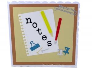 Glückwunschkarte Schule, Beruf, Notizen, für viele Anlässe mit Notebook und Füller, ca. 15 x 15 cm - Handarbeit kaufen