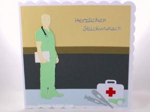 Grußkarte, Glückwunschkarte, Arzt, Mediziner, Pflegekraft, Geburtstagskarte für Medizinbereich, die Karte ist ca. 15 x 15 cm