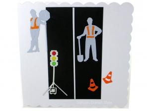 Straßenbauer, Grußkarte, Geburtstagskarte, Straßenbauer, Ampel, Straßenbauer, Verkehrshütchen, ca. 15 x 15 cm - Handarbeit kaufen
