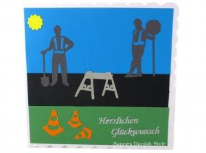 Glückwunschkarte, Straßenbauer, Grußkarte, Geburtstagskarte, Straßenbauer, Ampel, Straßenbauer, Verkehrshütchen, ca. 15 x 15 cm  - Handarbeit kaufen