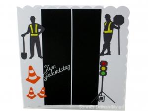 Karte mit Ampel, Straßenbauer, Grußkarte, Geburtstagskarte, Straßenbauer,  Verkehrshütchen, ca. 15 x 15 cm - Handarbeit kaufen